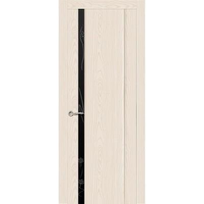 Ульяновская дверь Бриллиант-1 ясень крем ДО чёрное