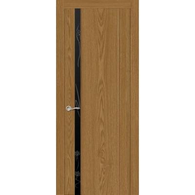 Ульяновская дверь Бриллиант-1 дуб медовый ДО чёрное