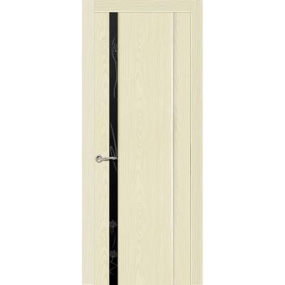 Ульяновская дверь Бриллиант-1 ясень ваниль ДО чёрное