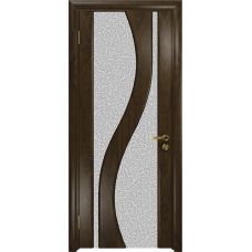 Ульяновская дверь Веста американский орех тонированный стекло триплекс белый с тканью