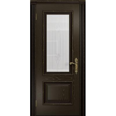 Ульяновская дверь Версаль-1 Декор ясень венге стекло белое с гравировкой «кардинал»
