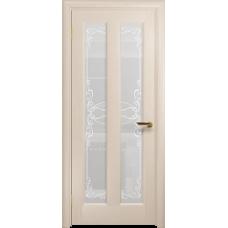 Ульяновская дверь Тесей дуб беленый стекло белое пескоструйное «порта»