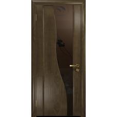 Ульяновская дверь Торелло американский орех стекло триплекс бронзовый «вьюнок» матовый