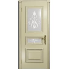 Ульяновская дверь Версаль-2 Декор эмаль слоновая кость стекло белое пескоструйное «версаль-2»