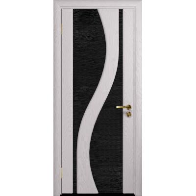 Ульяновская дверь Веста ясень белый стекло триплекс черный с тканью