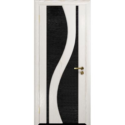 Ульяновская дверь Веста ясень белый золото стекло триплекс черный с тканью