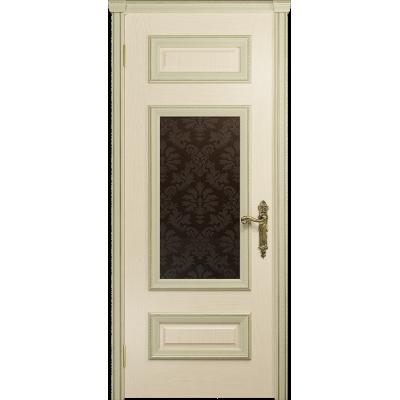 Ульяновская дверь Версаль-4 ясень слоновая кость стекло бронзовое пескоструйное «ковер»