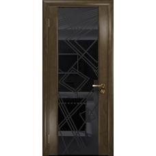 Ульяновская дверь Триумф-3 американский орех стекло триплекс черный 3d «куб»