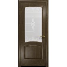 Ульяновская дверь Ровере американский орех стекло белое пескоструйное «корено»