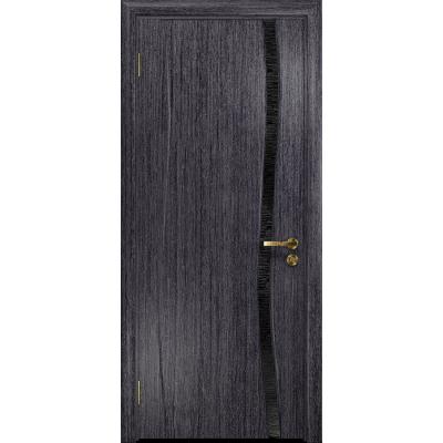 Ульяновская дверь Грация-1 абрикос стекло триплекс черный с тканью