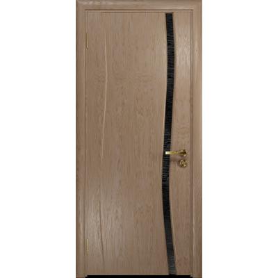Ульяновская дверь Грация-1 дуб стекло триплекс черный с тканью