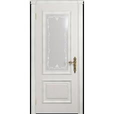 Ульяновская дверь Версаль-1 Декор ясень белый стекло белое пескоструйное «версаль-1»
