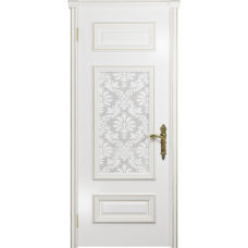 Ульяновская дверь Версаль-4 эмаль белая стекло белое пескоструйное «ковер»