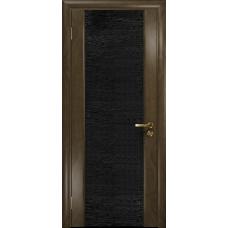 Ульяновская дверь Триумф-3 американский орех стекло триплекс черный с тканью