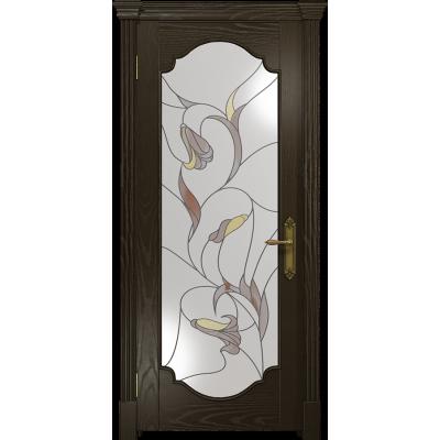 Ульяновская дверь Валенсия-2 ясень венге стекло витраж «кампанелла»