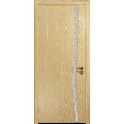 Ульяновская дверь Грация-1 ясень ваниль стекло триплекс белый с тканью