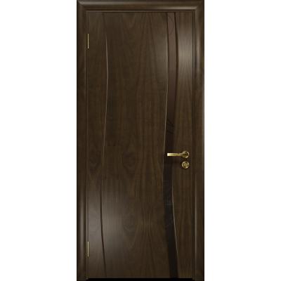 Ульяновская дверь Грация-1 американский орех тонированный стекло триплекс бронзовый «вьюнок» матовый