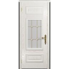 Ульяновская дверь Версаль-4 ясень белый золото стекло витраж «адель»