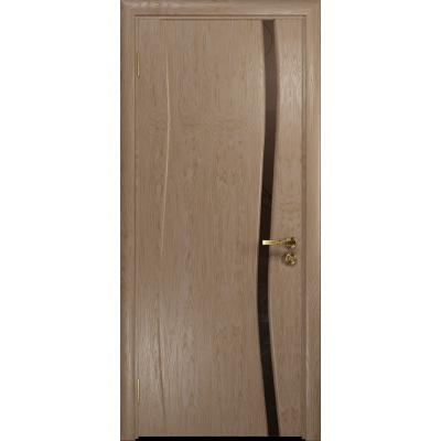 Ульяновская дверь Грация-1 дуб стекло триплекс бронзовый «вьюнок» матовый
