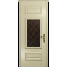 Ульяновская дверь Версаль-4 эмаль слоновая кость стекло бронзовое пескоструйное «ковер»