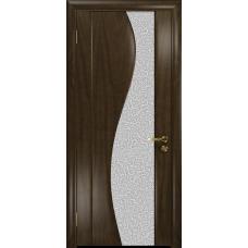 Ульяновская дверь Фрея-2 американский орех тонированный стекло триплекс белый с тканью