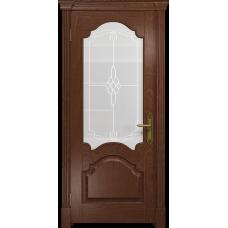 Ульяновская дверь Валенсия-1 красное дерево стекло белое пескоструйное «корено»