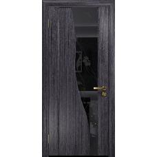 Ульяновская дверь Торелло абрикос стекло триплекс черный «вьюнок» глянцевый