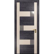 Ульяновская дверь Ронда-2 абрикос/дуб беленый стекло триплекс зеркало
