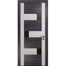 Ульяновская дверь Ронда-1 абрикос/ясень белый стекло триплекс бронзовый