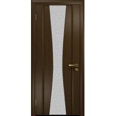 Ульяновская дверь Соната-2 венге стекло триплекс белый с тканью