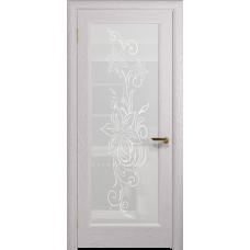 Ульяновская дверь Миланика-1 ясень белый стекло белое пескоструйное «миланика-1»
