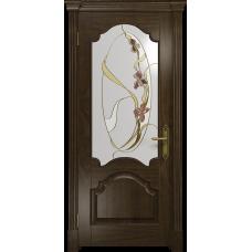 Ульяновская дверь Валенсия-1 американский орех тонированный стекло витраж «овал»