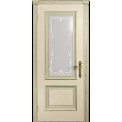 Ульяновская дверь Версаль-1 Декор ясень слоновая кость стекло белое пескоструйное «версаль-1»