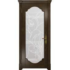 Ульяновская дверь Валенсия-2 американский орех тонированный стекло белое пескоструйное «кампанелла»