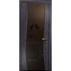 Ульяновская дверь Грация-3 абрикос стекло триплекс бронзовый «вьюнок» матовый