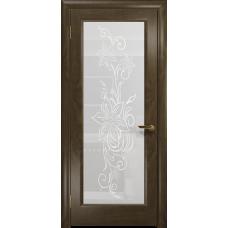 Ульяновская дверь Миланика-1 американский орех стекло белое пескоструйное «миланика-1»