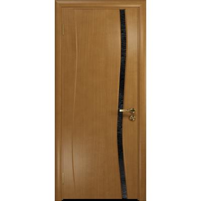Ульяновская дверь Грация-1 анегри стекло триплекс черный с тканью
