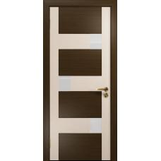 Ульяновская дверь Ронда-2 венге/дуб беленый стекло триплекс белый