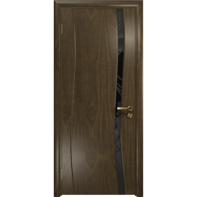 Ульяновская дверь Грация-1 американский орех стекло триплекс черный 3d «куб»