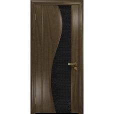 Ульяновская дверь Фрея-2 американский орех стекло триплекс черный с тканью