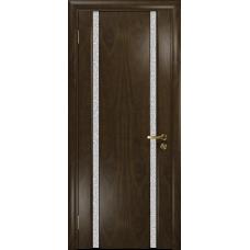 Ульяновская дверь Триумф-2 американский орех тонированный стекло триплекс белый с тканью
