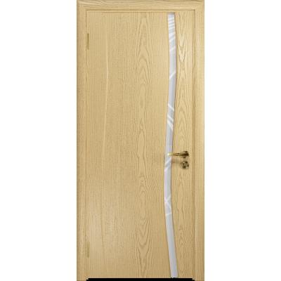 Ульяновская дверь Грация-1 ясень ваниль стекло триплекс белый 3d «куб»