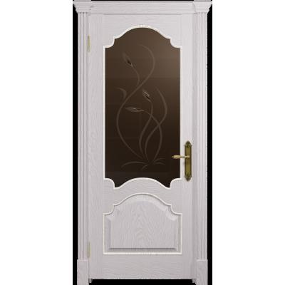 Ульяновская дверь Валенсия-1 ясень белый золото стекло бронзовое пескоструйное «фиор»