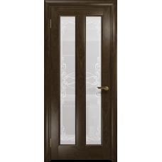 Ульяновская дверь Тесей американский орех тонированный стекло белое пескоструйное «порта»