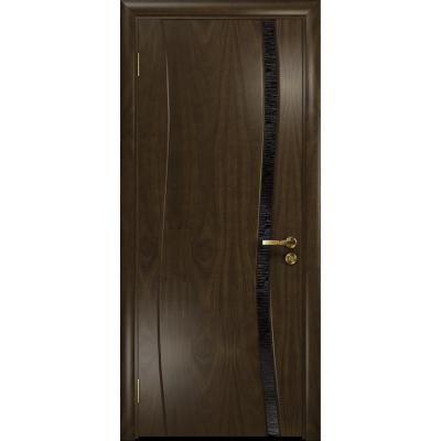 Ульяновская дверь Грация-1 американский орех тонированный стекло триплекс черный с тканью