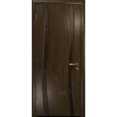 Ульяновская дверь Грация-2 американский орех тонированный стекло триплекс бронзовый «вьюнок» матовый