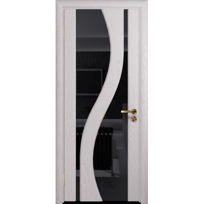 Ульяновская дверь Веста ясень белый стекло триплекс черный