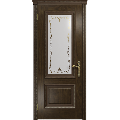 Ульяновская дверь Версаль-1 американский орех тонированный стекло белое пескоструйное «версаль-1»