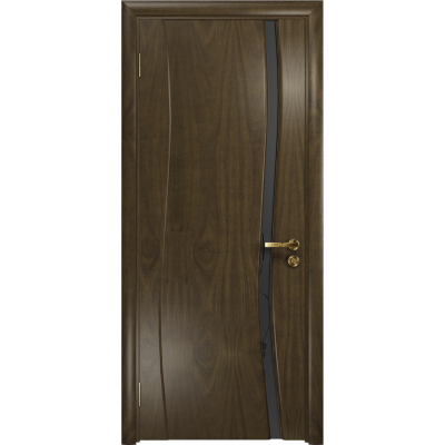 Ульяновская дверь Грация-1 американский орех стекло триплекс черный «вьюнок» матовый