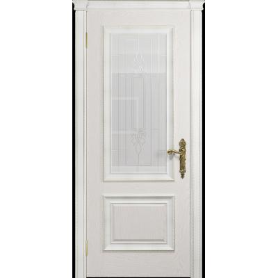 Ульяновская дверь Версаль-1 Декор ясень белый стекло белое с гравировкой «кардинал»